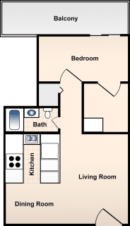 1 Bed / 1 Bath / 477ft² / Deposit: $300 / Rent: $635